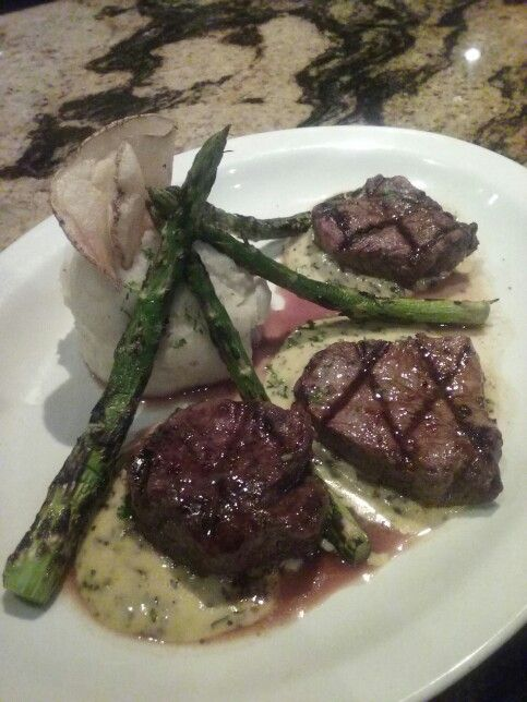 Tenderloin Béarnaise served at Chessie's in Barrington Illinois (The restaurant I work at) Tenderloin medallions of filet mignon topped with homemade béarnaise sauce. Served with garlic mashed potatoes and grilled asparagus.