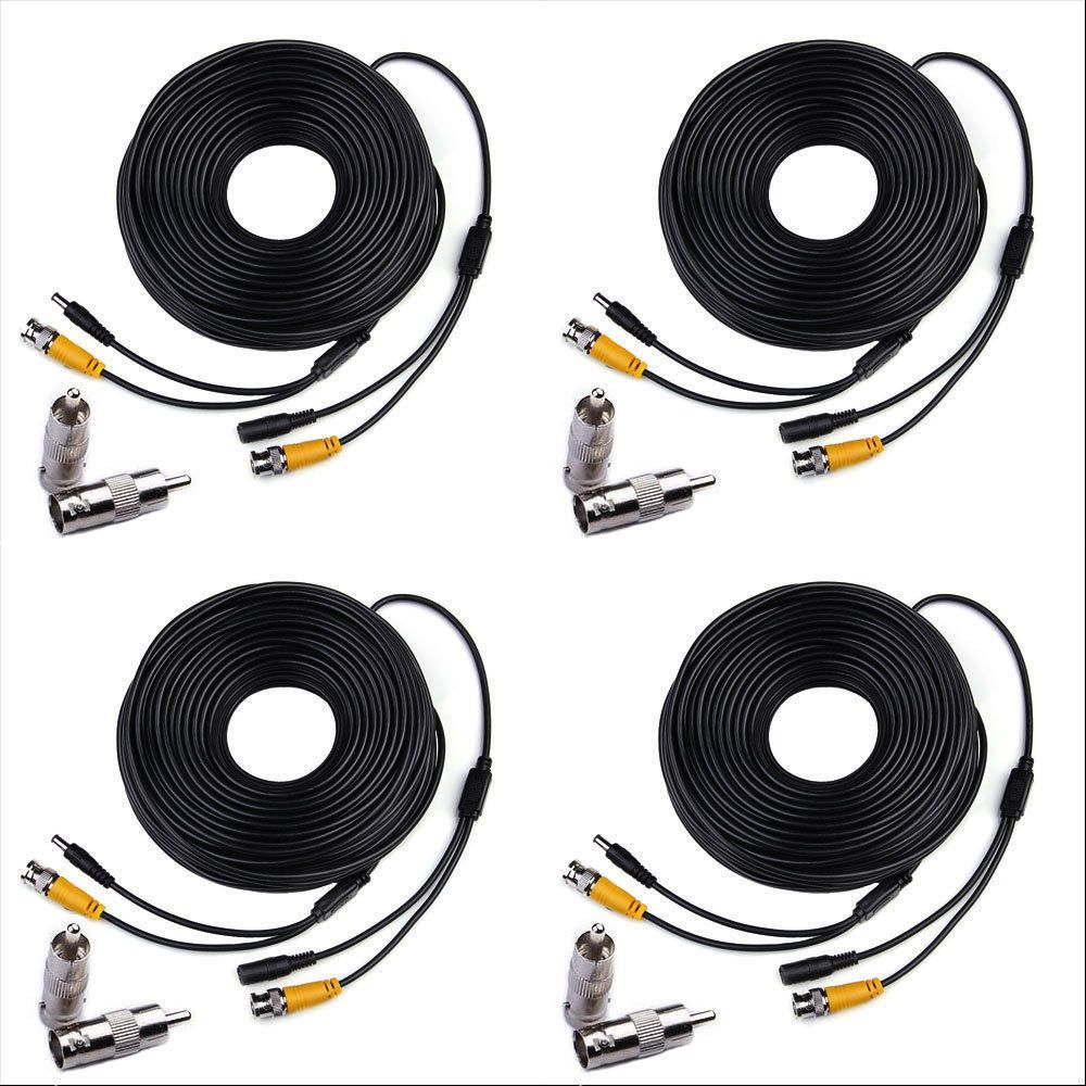 4 X150ft Bnc Camera Cable Surveillance Cord Cctv Video Power Wiring Cameras Security Dvr Black Wire Masione