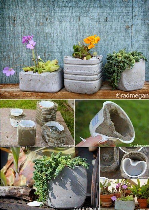 Ideen für die Dekoration von DIY-Gärten   - Beton - concrete -