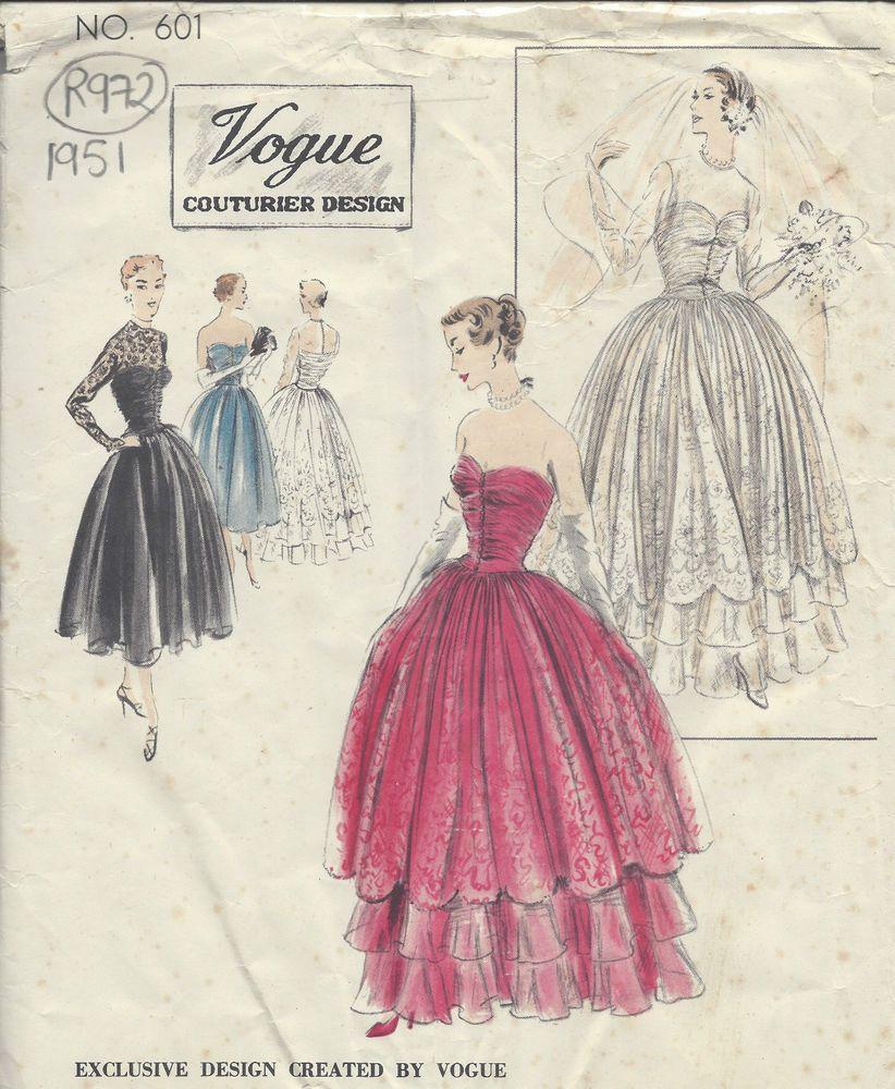 1951 Vintage VOGUE Sewing Pattern B34 EVENING & WEDDING DRESS (R972 ...