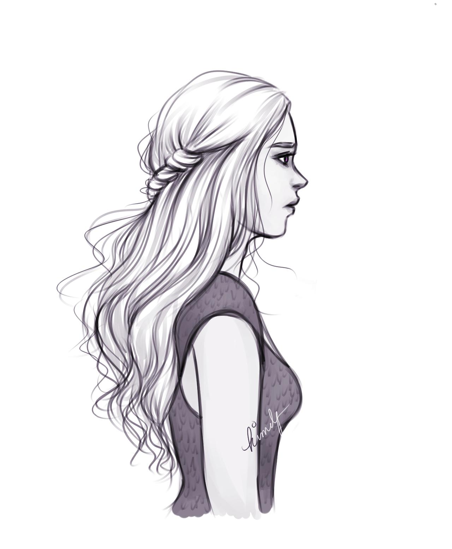 Картинки нарисованных девушек карандашом с длинными волосами