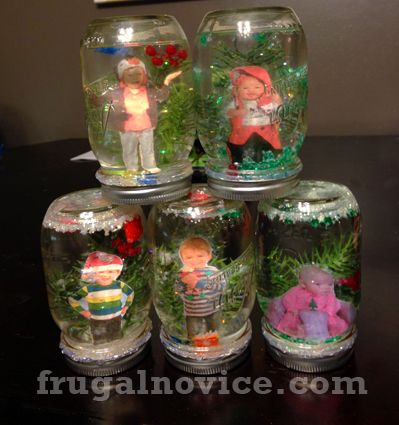 Adorable, fun, inexpensive craft how-to: DIY snow globes! Use your child's photo in the globe to make it personalized. We added Legos to our boys' - fun! The kids love them, and they're so easy!