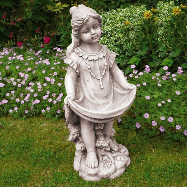 Garden Figurine Bird with child on Ball Stone Effect Large