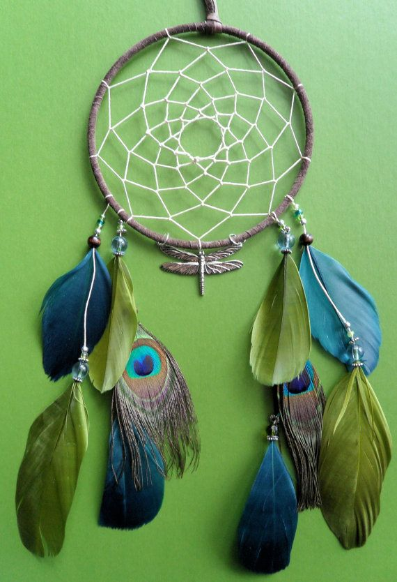 Dream Catcher Dragonfly Peacock Green And Blue Etsy Dream Catcher Dream Catcher Diy Catcher