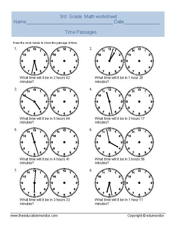 Elapsed Time Worksheets  Telling Time Worksheet For Third Grade