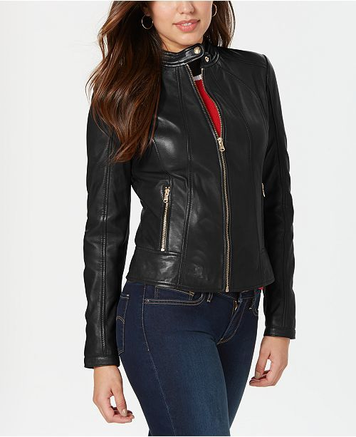GUESS Womens Stand-Collar Faux-Leather Jacket Black XXL