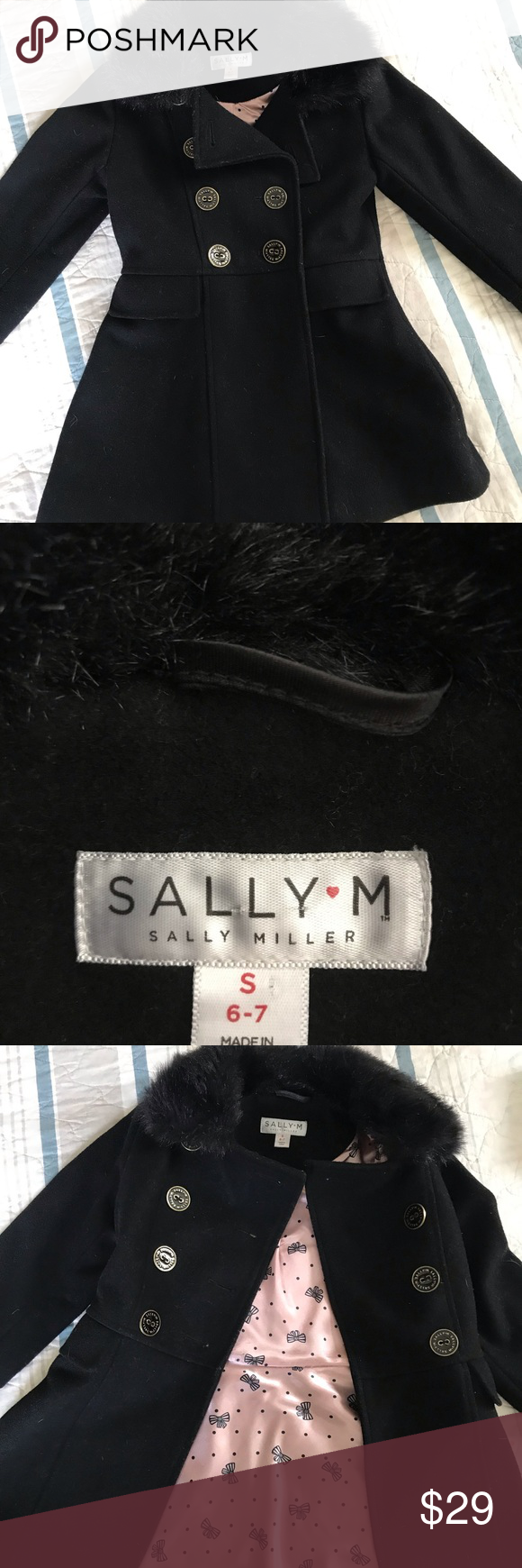 Sally Miller Girls Black Wool Winter Coat 6 Small Adorable black wool coat in great condition. Features a faux fur collar, black and gold buttons, and pink bow lining. Sally Miller Jackets & Coats Pea Coats #sallymiller