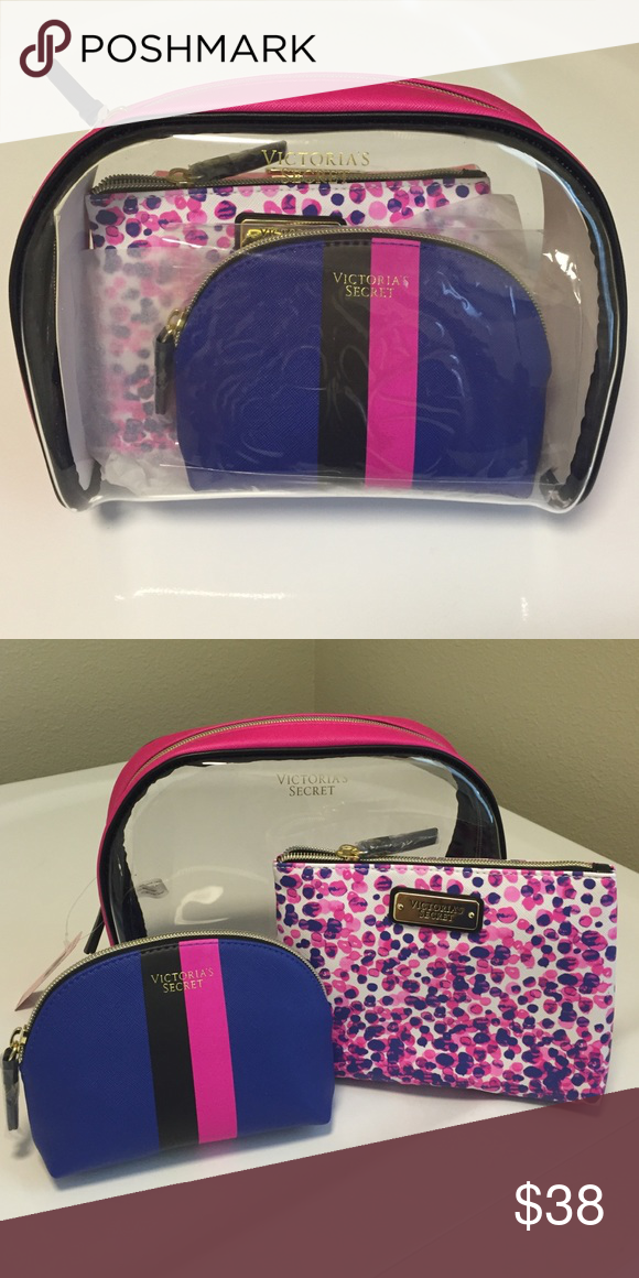 ed1f03f32084 NWT VS Three Makeup Bags Set of 3 Colors Comes With (1) large clear ...