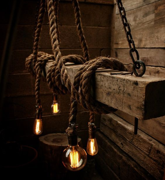 Rustic Light Industrial Chandelier Rope Pulley By: Image Result For Pulley And Rope Ceiling