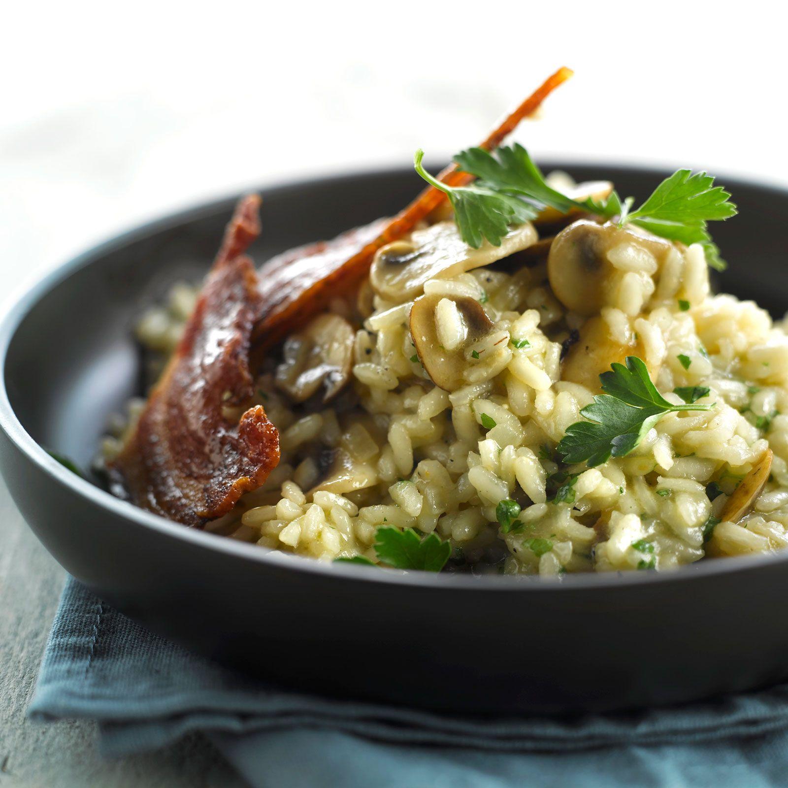 Risotto aux champignons   Recette   Risotto champignons, Recettes de cuisine et Recette risotto ...