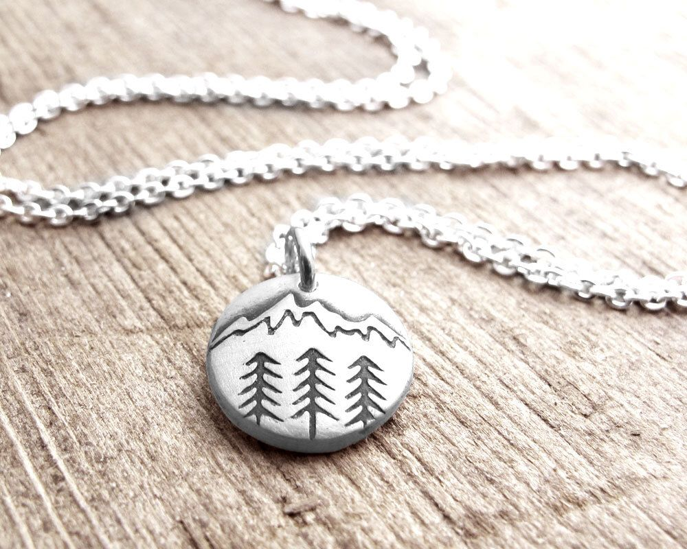 tiny mountain necklace in silver trees and mountain. Black Bedroom Furniture Sets. Home Design Ideas