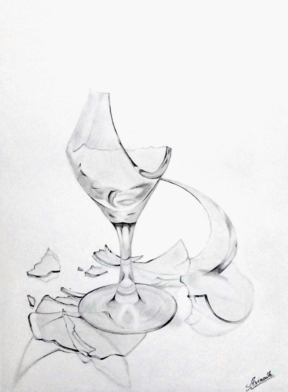 Still Life Pencils Drawing Of Broken Wine Glass Broken Glass Art Wine Glass Drawing Broken Pencil