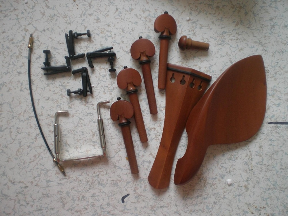 51.99$  Buy now - http://ali37t.worldwells.pw/go.php?t=32399382256 - 6 Sets Jujube Violin Parts 4/4 with Silver Fine tuner &Silver Clamp & tail gut