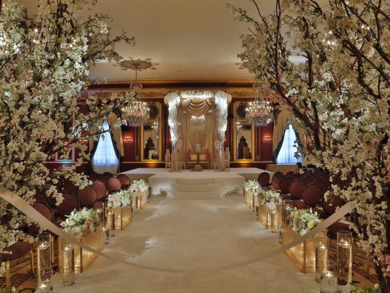 Cherry Blossom Tree Wedding Ceremony Bride Groom Decorations Aisle Decor Luxury Wedding Decor Hotel Wedding Ceremony Decorations Wedding Aisle Decorations