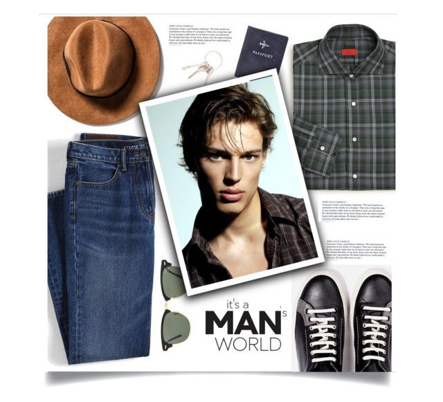 """""""It's a Man's World"""" by fernshadowstudio-com ❤ liked on Polyvore featuring Ray-Ban, Isaia, Givenchy, Dolce&Gabbana, Lands' End, FOSSIL, men's fashion and menswear"""
