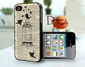 Love Birds with hearts on dictionary page - iPhone 4S and iPhone 4 Case Cover