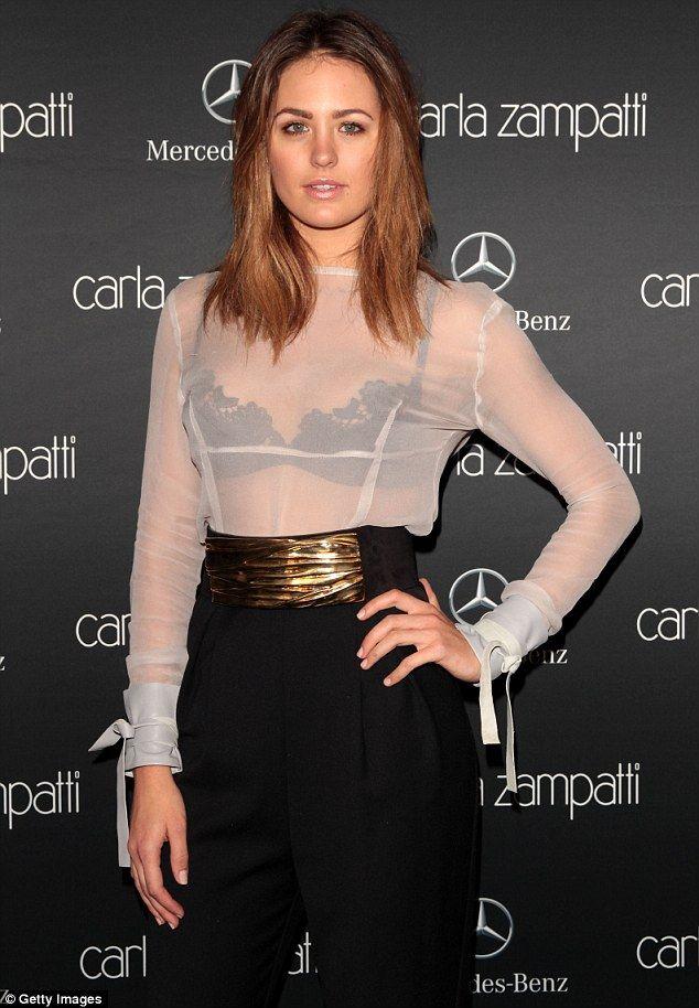 Jesinta Campbell bares her black bra in sheer top at Fashion Week
