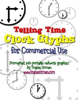 Clock glyphs in PNG format for lessons, presentations, smartboard, etc.