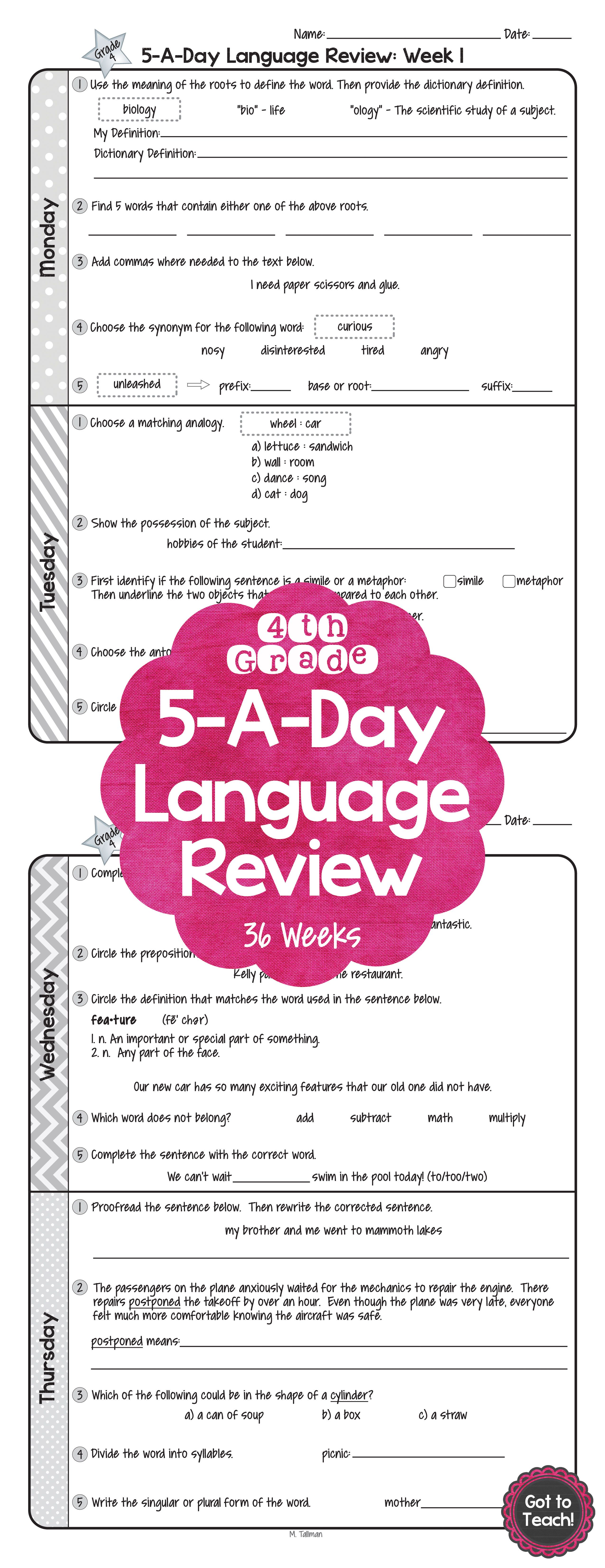 Worksheet Reading Material For 4th Graders spiral language homework for 4th grade 2 weeks free with answer 36 of daily common core review 5 a