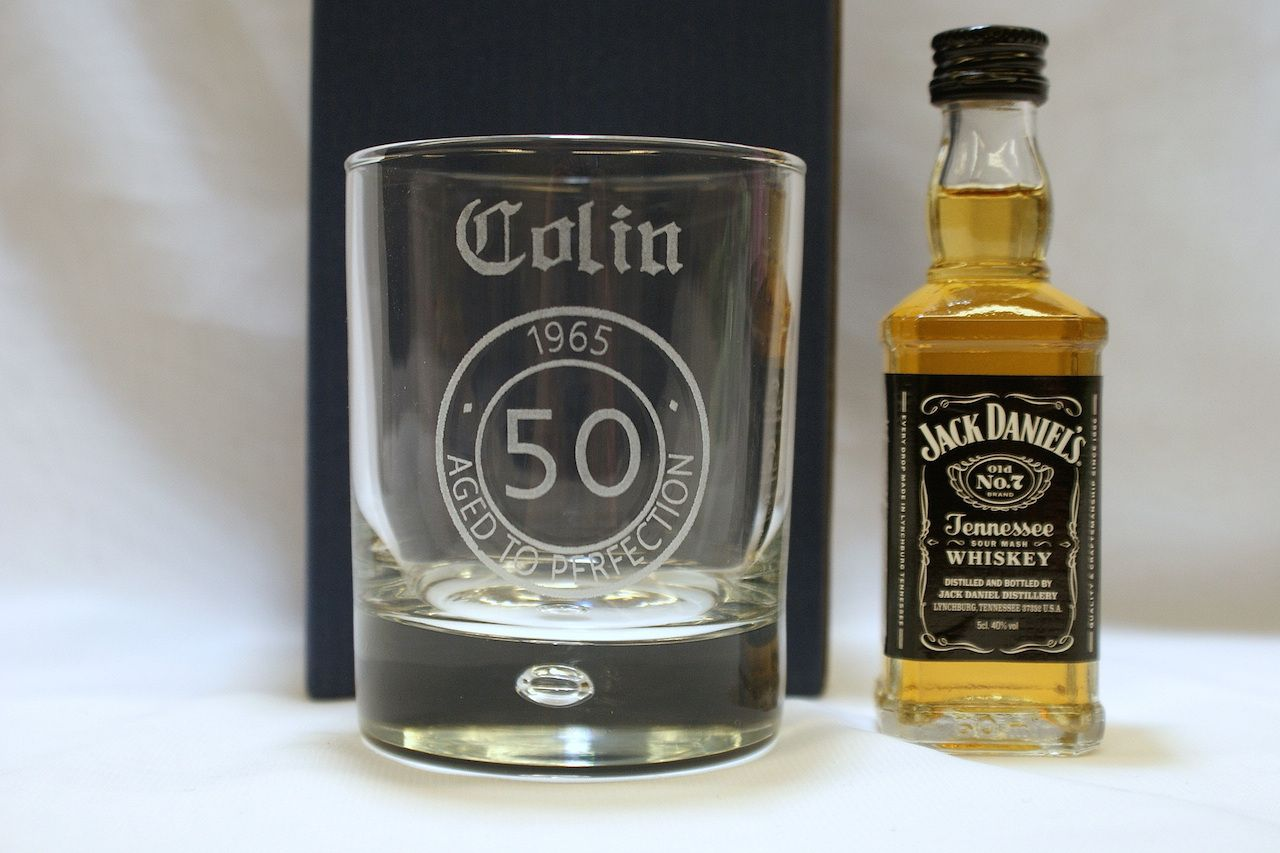 Engraved birthday glass jack daniels alcohol gifts