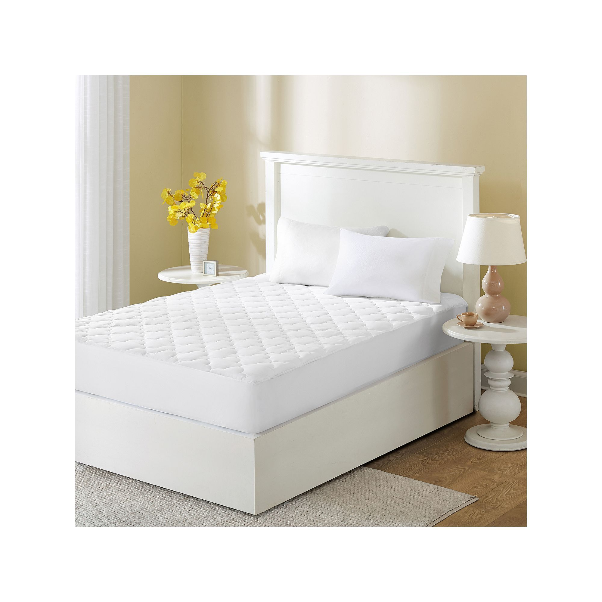 wonder wool by sleep philosophy 300 thread count mattress pad white