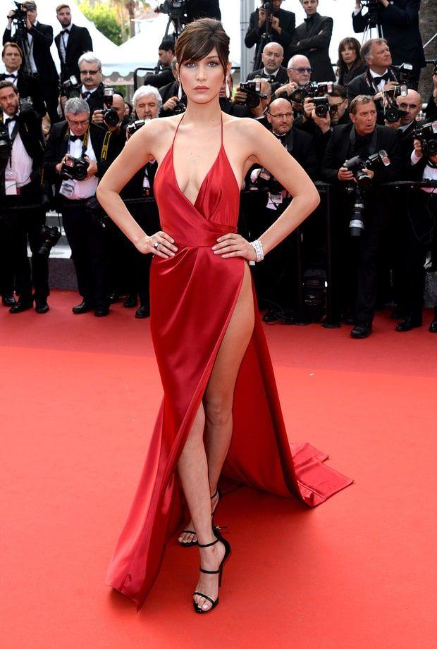 Bella Hadid Red Slit Dress, Red Silk Prom Dress, Nice Dresses, Sexy Dresses 87239f116242