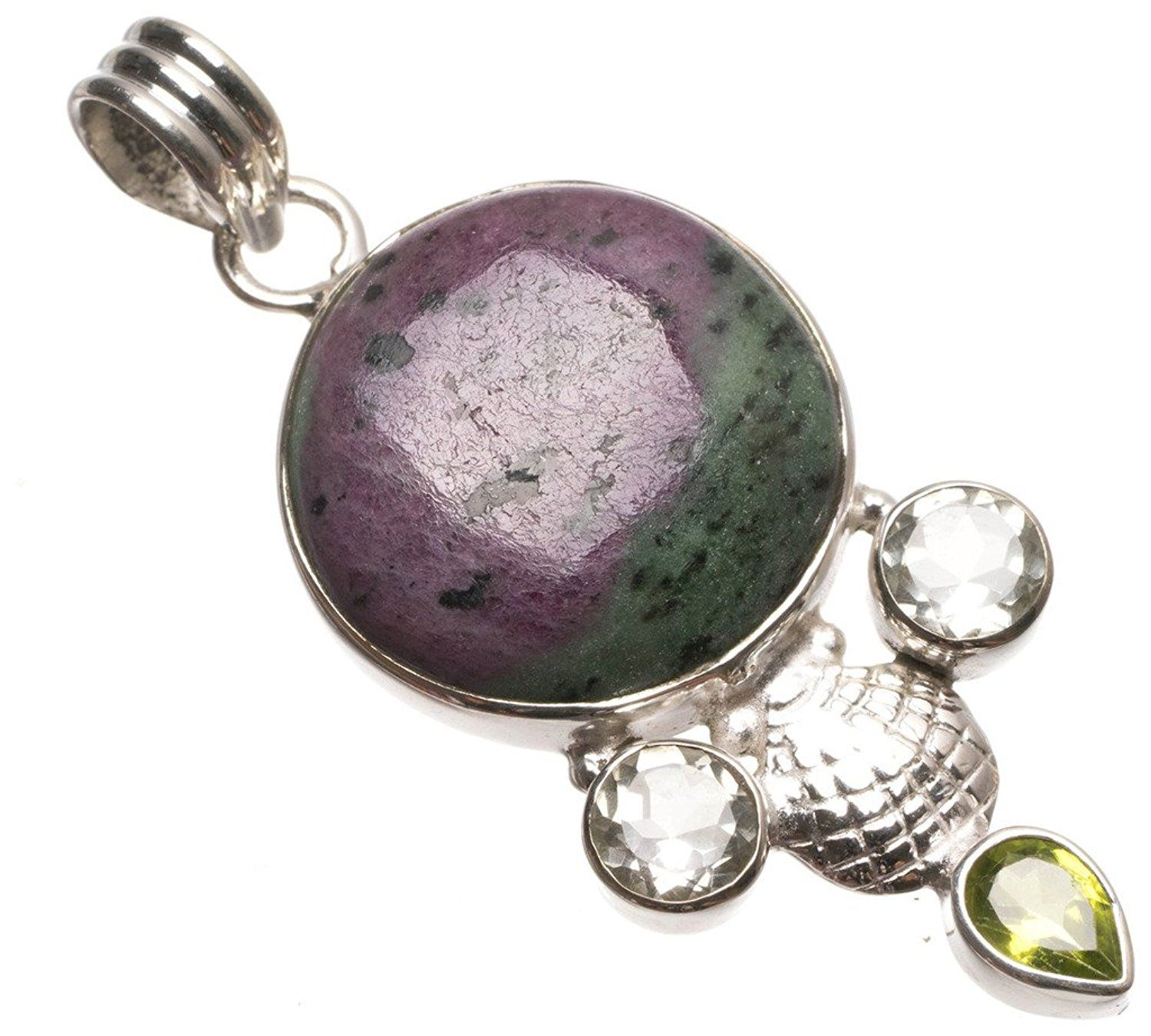 Free Shipping Natural Ruby Zosite 925 Silver Handmade Gemstone Jewelry Pendant