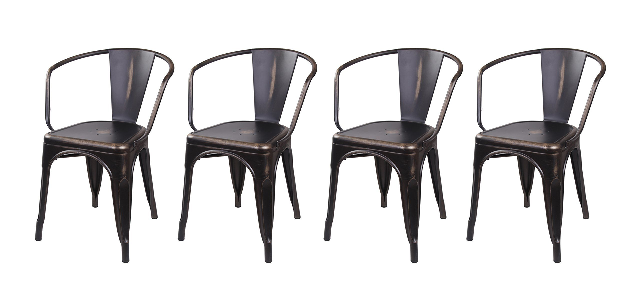 GIA Metal Dining Chairs With BackSet Of