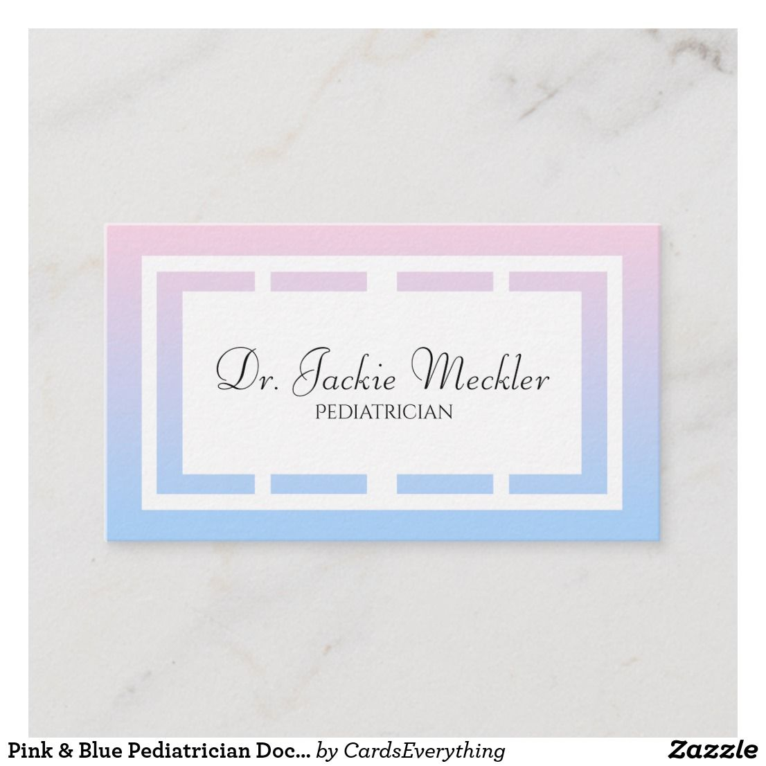 Pink Blue Pediatrician Doctor Business Card Zazzle Com Doctor Business Cards Business Card Design Business Cards