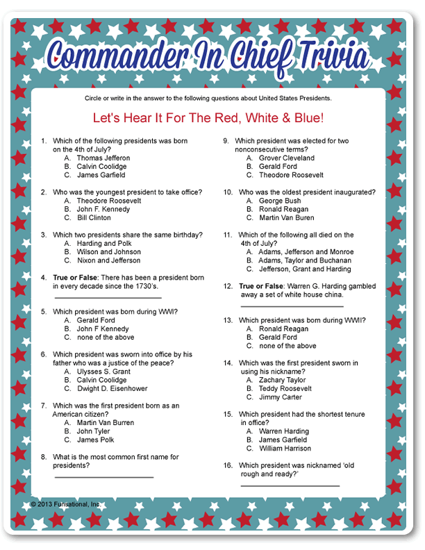 photo regarding 4th of July Trivia Printable named Printable Commander Inside of Leader Trivia crafts 4th of july