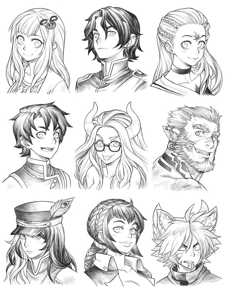 160703 Headshot Commissions Sketch Dump 21 By Runshin How To Draw Hair Manga Hair Drawings