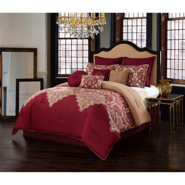 Burgundy 10-Piece Comforter Set master bedroom ideas Pinterest
