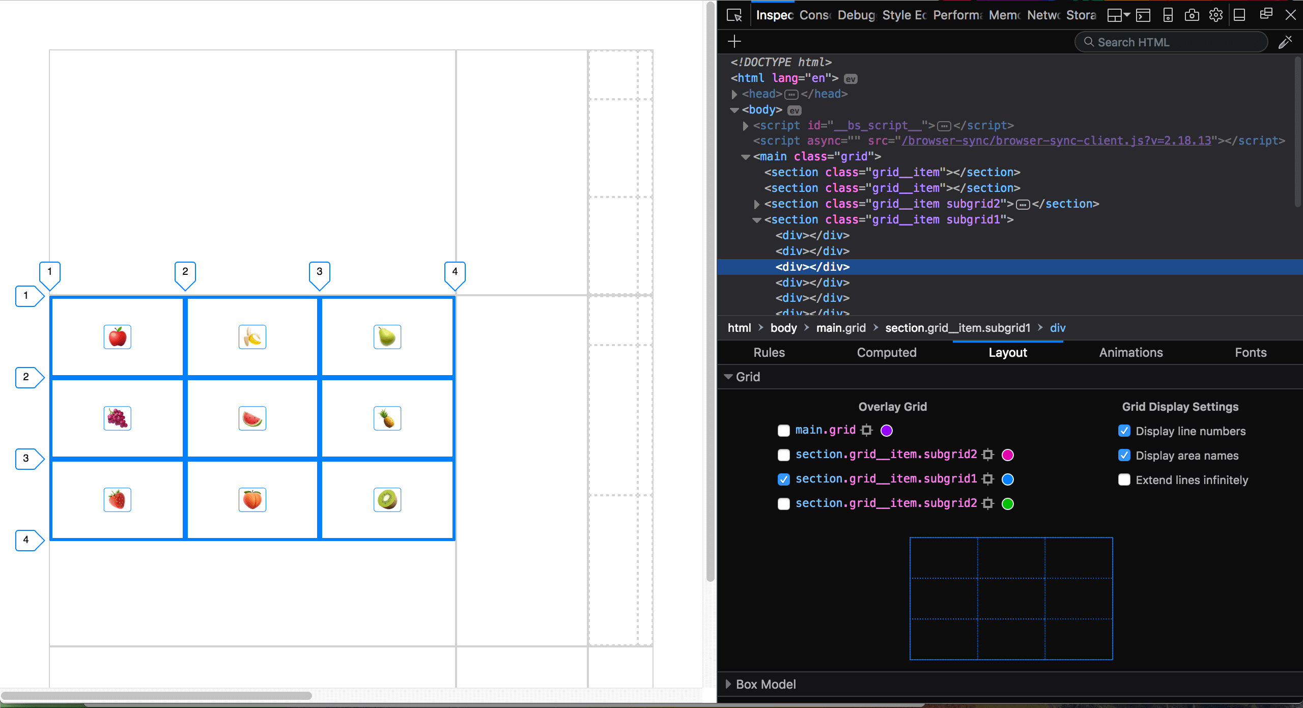 Debugging CSS Grid Layouts With Firefox Grid