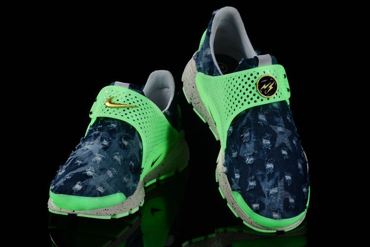 super popular 5017a f40b4 Girl WMNS Nike Sock Dart lightning Jean Denim Green Glow White