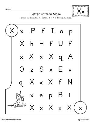 letter x pattern maze worksheet letter x maze worksheet lettering kindergarten worksheets. Black Bedroom Furniture Sets. Home Design Ideas