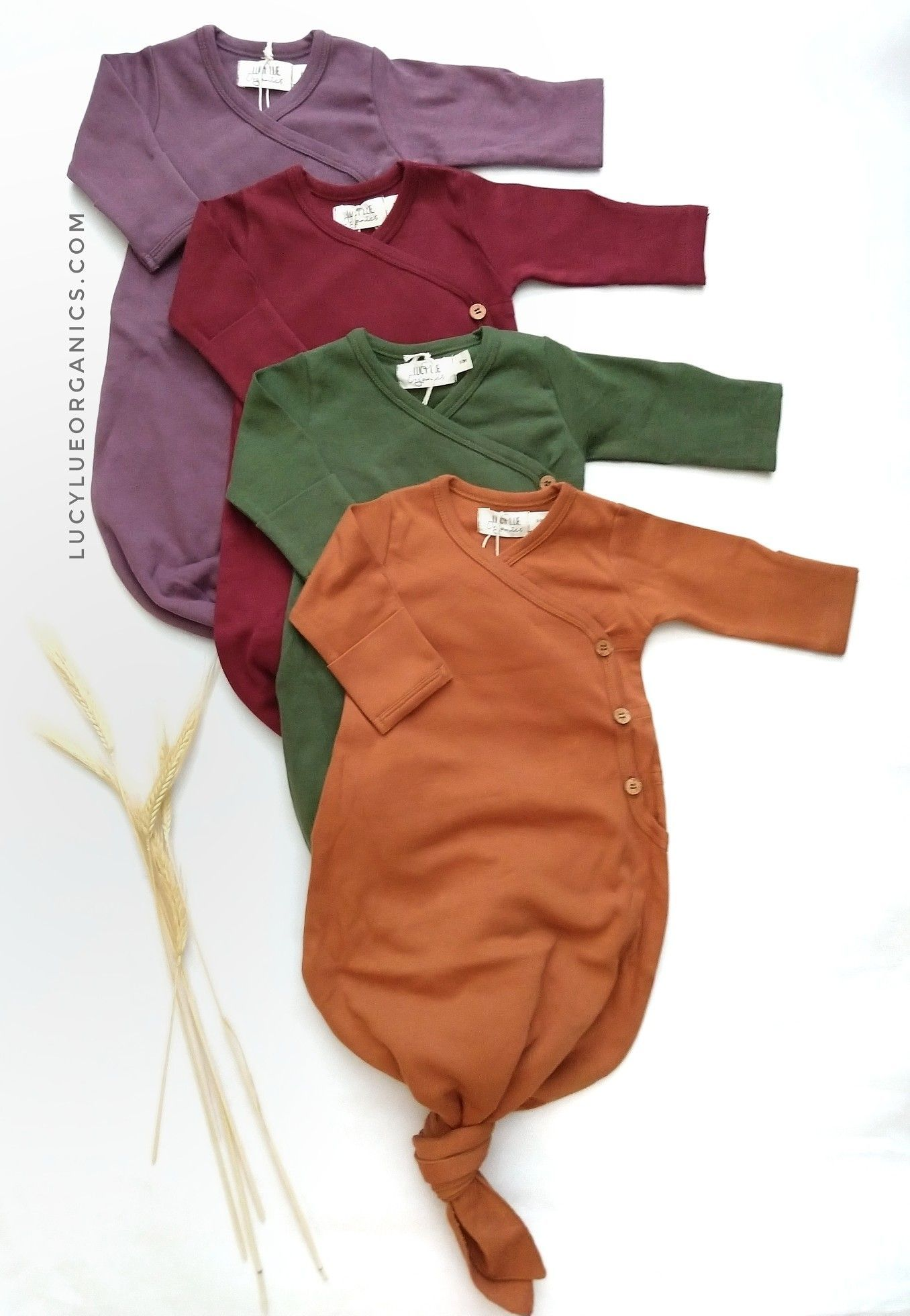 Knotted Baby Gowns The Cutest And Most Stylish Knotted Baby Gowns By Lucy Lue Organics Made In Organic Cotto Baby Girl Clothes Baby Gown Natural Baby Clothes