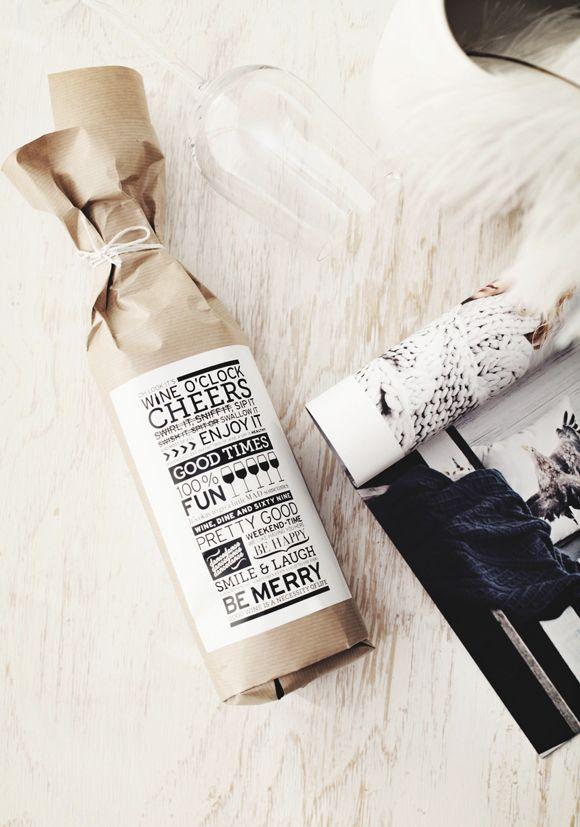 sch ne idee wie man schnell und einfach eine wein flasche sch n als geschenk verpacken kann. Black Bedroom Furniture Sets. Home Design Ideas