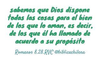 sabemos que Dios dispone todas las cosas para el bien de los que lo aman, es decir, de los que él ha llamado de acuerdo a su propósito | Romanos 8.28 RVC | www.sbch.cl