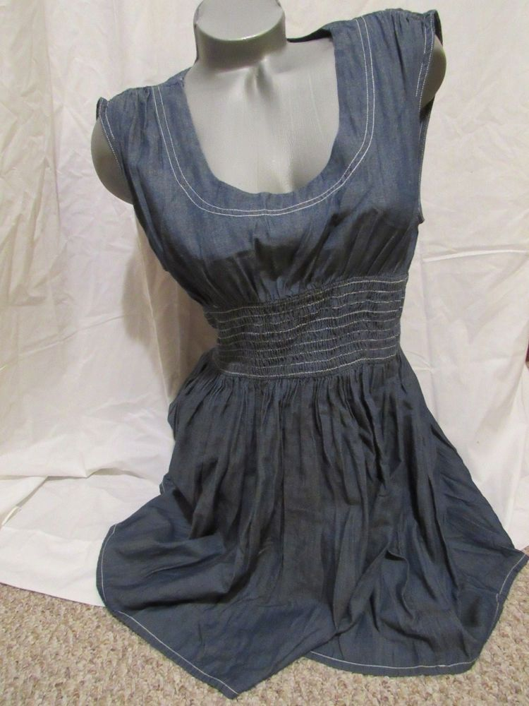 1eae913da9  DenimDress Venus Denim Jean Gathered Waist Sleeveless Dress with Pockets M  - Denim Dress  16.00 End Date  Friday Nov-2-2018 4 55 10 PDT Buy It Now for  ...