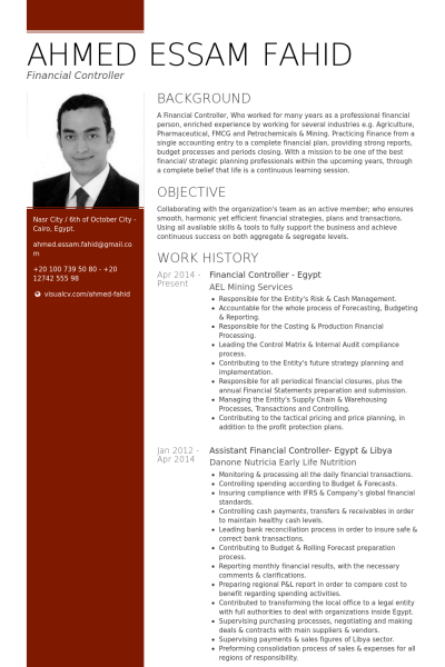financial controller egypt resume example - Sample Financial Controller Resume