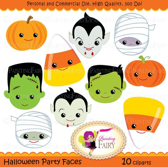 Halloween clipart Halloween Party Faces Digital images Dracula - martha stewart outdoor halloween decorations
