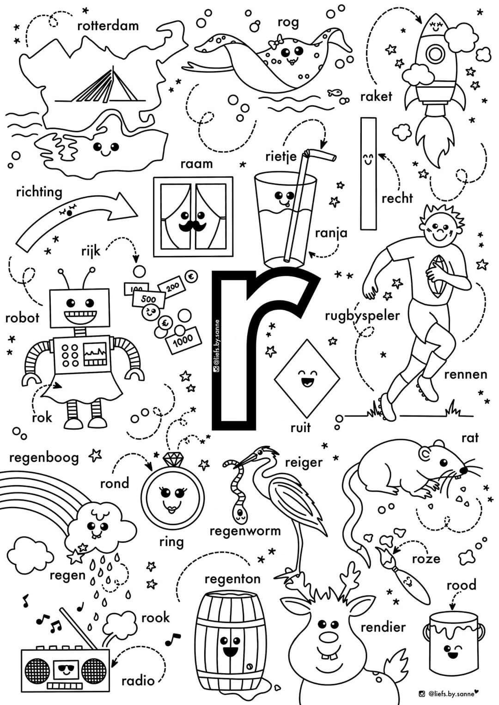 R Woorden Kleurplaat Letterherkenning Spelletjes Kleuterschool Taal Alfabet Boek