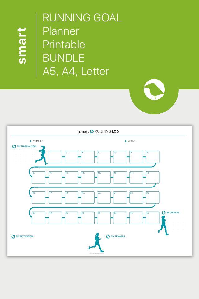 RUNNING Log, Fitness Goal Planner, Health and Fitness Printable - running log template