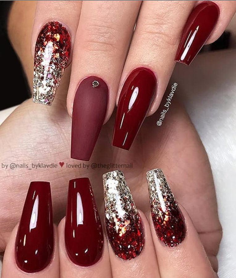46 Elegant Acrylic Ombre Burgundy Coffin Nails Design For Short And Long Nails Ombre Nails Glitter Nail Designs Glitter Ombre Nail Designs