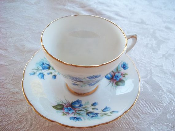 Royal Kendall Tea Cup & Saucer  Blue Floral Bone China England Vintage