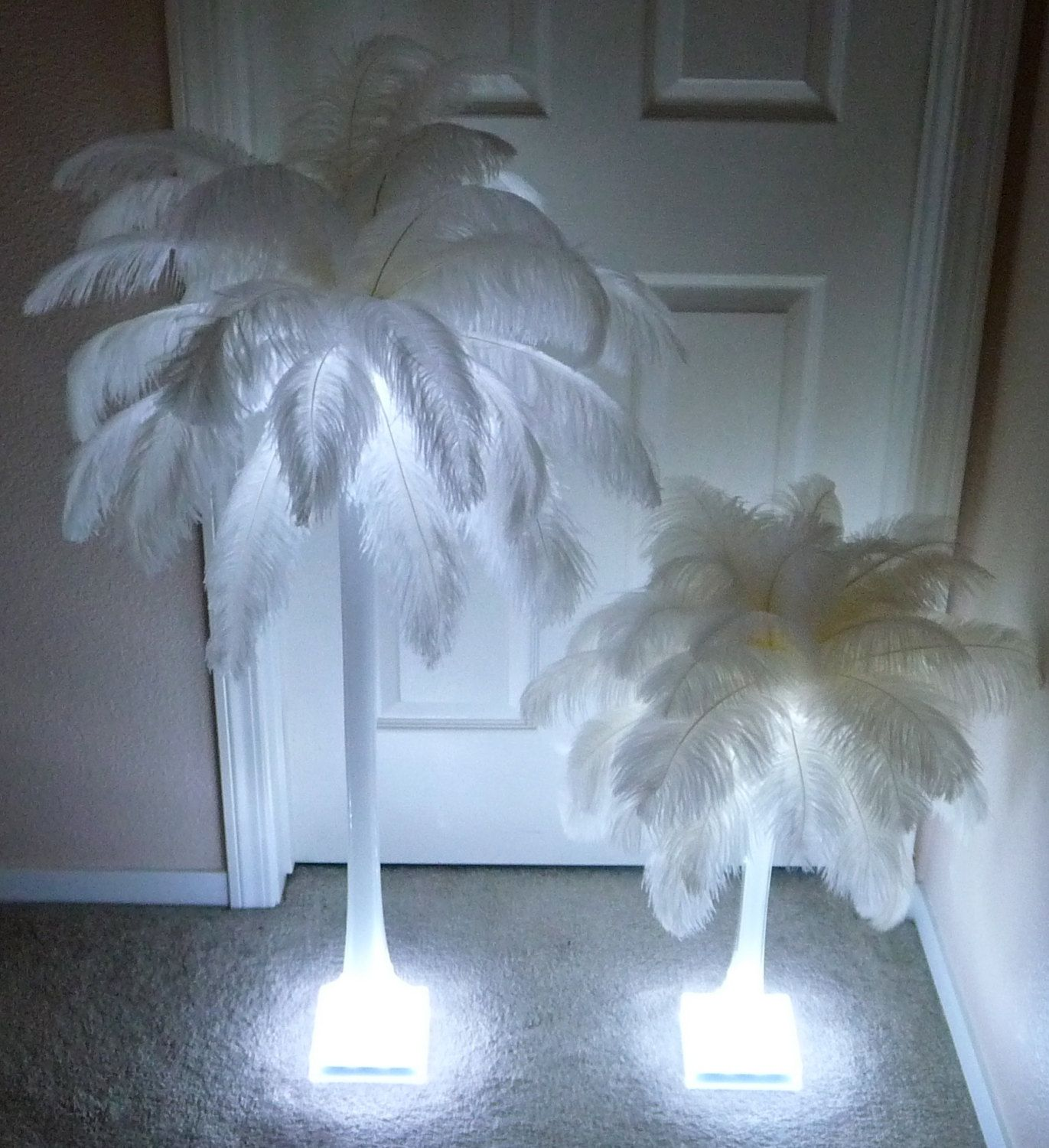 Quot ostrich feather centerpiece inch eiffel tower vase