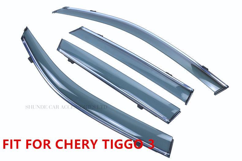 FIT FOR CHERY TIGGO 3 SIDE WINDOW RAIN DEFLECTORS GUARD VISOR WEATHER  SHIELDS DOOR SHADOWS ACRYLIC