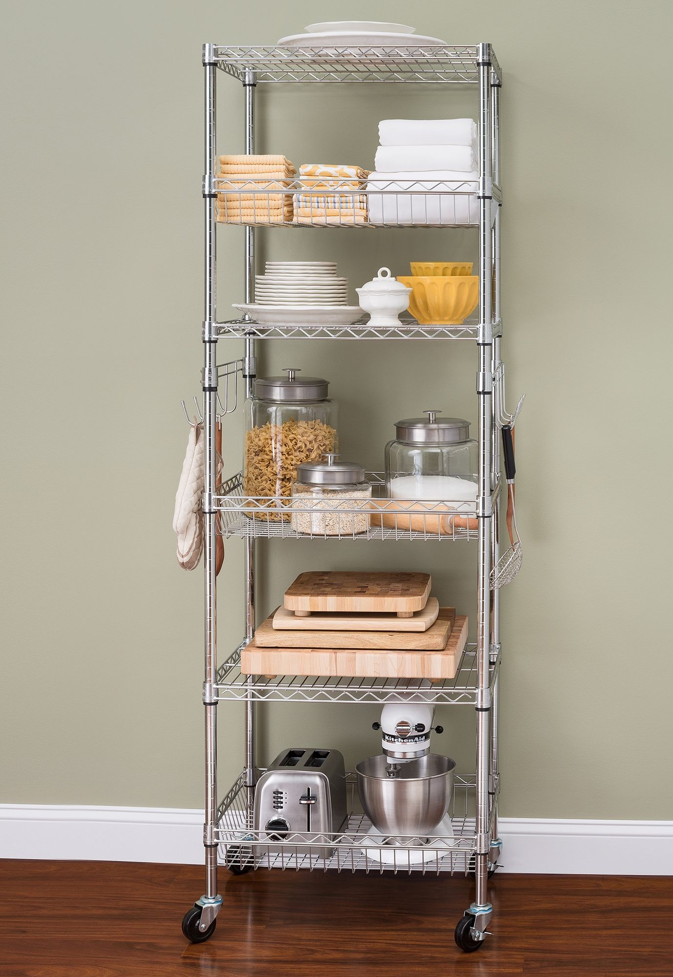 Hss 6 Tier Wire Shelving Tower Rack With Casters And Shelf Liners 18 Dx24 Wx75 H Chrome Walmart Com Kitchen Appliance Storage Appliances Storage Kitchen Rack