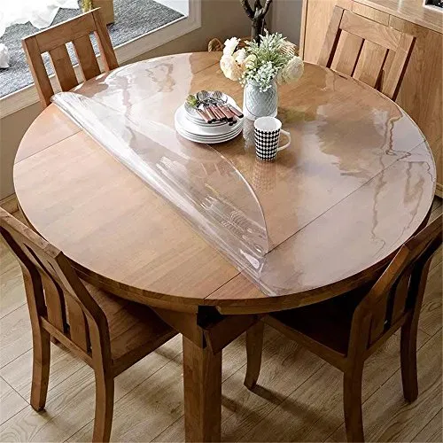 Ostepdecor Custom 2mm Thick Crystal Clear Table Top Protector Plastic Tablecloth Kitchen Dining Room Wood Furniture Protective Cover Pad Round 45 Inches Dia Round Table Covers Wood Dining Room Dining Room Table
