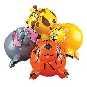 12-pack Inflatable Jungle Animal Shaped Beach Balls, Assorted Colors -- See this great product.